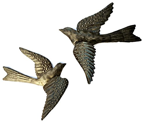 Haitian Birds Recycled Steel Drum Art 3-d Wings (Set of 2)