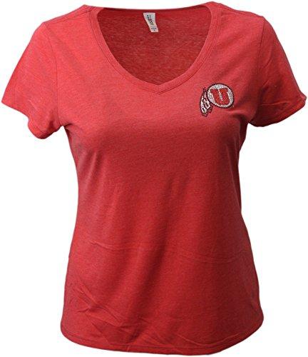 (Nitro USA NCAA Utah Utes Women's Super Soft Collegiate Bling V-Neck Tee, Small, Red)