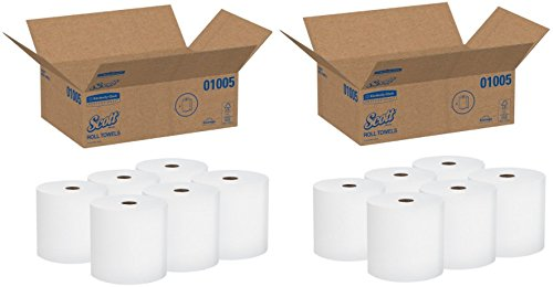 Scott High Capacity Hard Roll Paper Towels (01005), White, 2 Cases (6 Rolls)