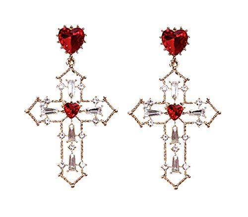 Sisfrog Cross Heart Red Pearl Crystal Dangle Earrings with 925 Sterling Silver Elegant Korean Style for Teenagers Women Ladies, Perfect Gifts for Easter Birthday Anniversaries (Red)