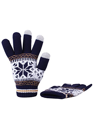 [10STAR11 Women's Comfortable Fleece Touch Screen Vivid Winter Gloves NAVY,O] (Pixel Gloves)