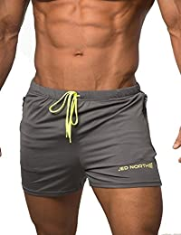 Jed North Men's Fitted Shorts Bodybuilding Workout Gym Running Tight Lifting Shorts
