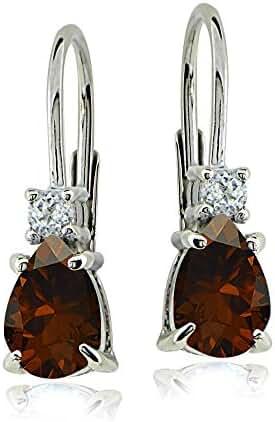Sterling Silver Gemstone & White Topaz Small Dainty Teardrop Leverback Earrings