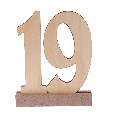 Wooden Wedding Table Numbers 1-20 by BestOffer | Wood Table Numbers with Holders Heavy Duty 20pcs Set for Party Birthday Banquet Catering Wedding Events Table Number Centerpiece by Bestoffer (Image #2)