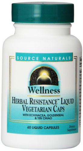 Source Naturals Wellness Herbal Resistance, with Echinacea, Goldenseal & Yin Chiao Immune Support, 60 Liquid Vegetarian Capsules