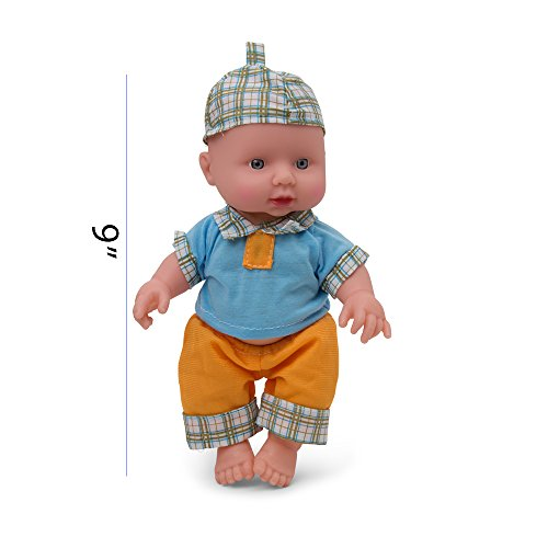 Plastic Boy Doll (Kidsthrill Toddler 9-Inch Baby Doll – Push and Talk And Sounds – Soft Hands And Feet – Orange And Blue Striped Clothing)