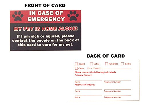 Pet Emergency Care Card (2 pack) - My Pet Is Home Alone Alert In Case of Emergencies Dog Cat Safety Wallet (Pet Business Cards)