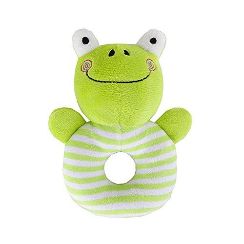 2 Pcs Plush Baby Soft Rattles Developmental Hand Grip Animal Shaker Toy Ring Rattle for Newborn Infant Gift(Frog)