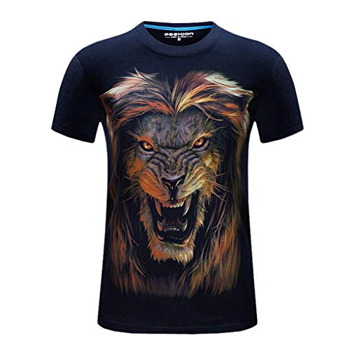 T-Shirts for Men, MmNote Fierce Lion Screaming Print Moisture Wicking Performance Training Athletic Summer Short Sleeve Dark Blue