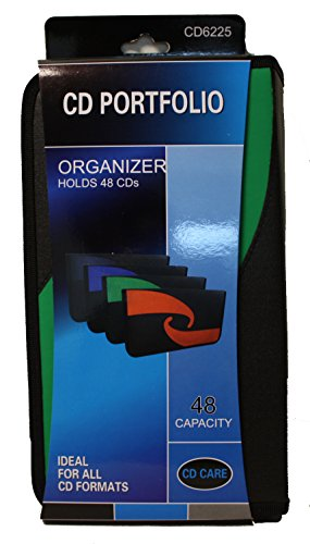 PSWholesale 48 Capacity CD Storage Wallet Case Organizer - Ideal for all CD Formats - CD Portfolio - MultiColor