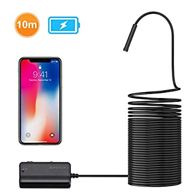 DEPSTECH 1200P Semi-Rigid Wireless Endoscope, 2.0 MP HD WiFi Borescope Inspection Camera,16 inch Focal Distance & 2200mAh Battery Snake Camera for Android & iOS Smartphone Tablet