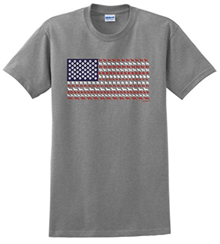 Dogs American Made T-shirt - Patriotic Dog Gift American Flag Made of Dogs T-Shirt XL SpGry