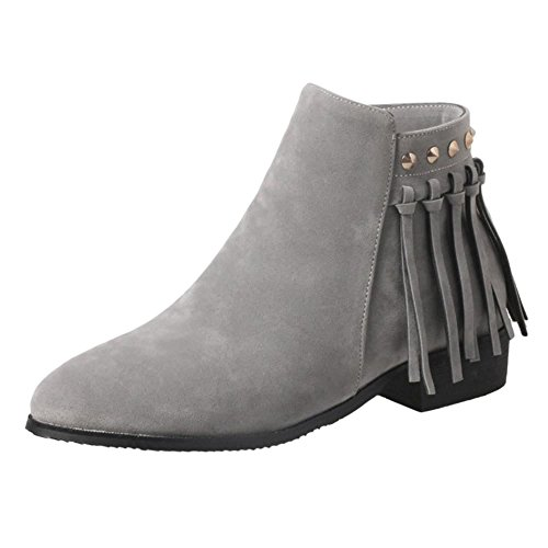 Side Bootie Gray Zipper Women KemeKiss 1 Fashion x6qUSnH