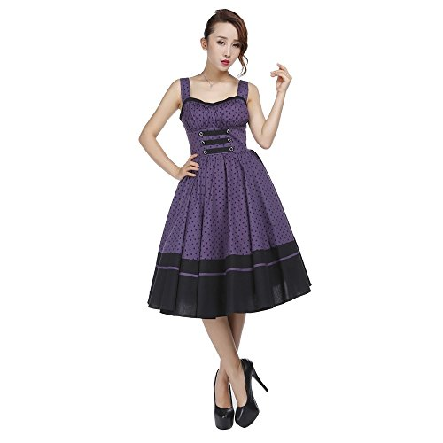 50 40 42 Pin Purple 52 Up 36 54 Polka 58 56 38 46 Dot Chic 44 50's 48 EU Star Skirted Dress Retro Full Sizes qZw1nxRIa