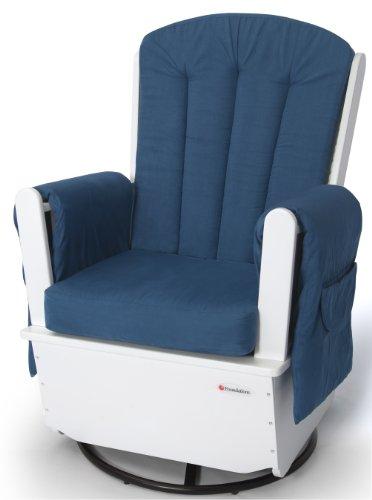 - Foundations SafeRocker SS Swivel Glider Rocker, White/Blue