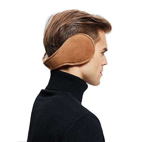 Sheepskin Wool Snug Earmuffs Ear Warmer - Men Winter Suede Earwarmer - Nut