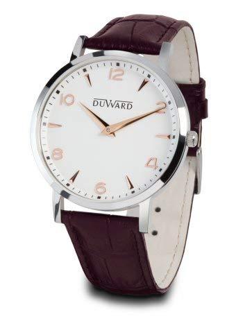 Reloj duward Hombre Correa Piel Marron, Esfera Blanca.5ATM. D85100.01: Amazon.es: Relojes
