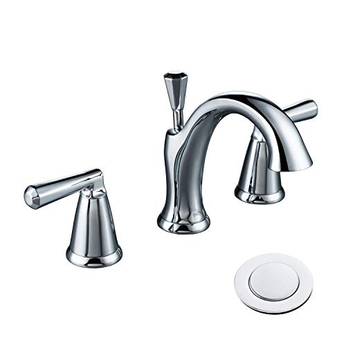 ENZO RODI Two-handle Low-arc Solid Brass Widespread Bathroom Faucet with Ceramic Valve and Lift Pop Up Drain Assembly, Chrome, UPC/AB 1953/NSF Certified, ERF2212254CP-10