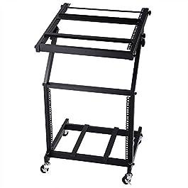 AW 9U DJ Mixer Stand Adjustable Rack Mount Rolling Stage Cart Studio Music Show