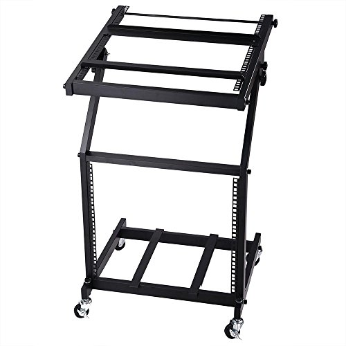 AW DJ Rack Mount Studio Mixer Stand Rolling Stage Cart Adjustable Music Equipment Party Show - Studio Rack Stand
