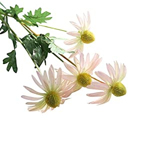 Leegor 1 Bouquet 2 Heads Real Touch Artificial Aster Chrysanthemum Fake Flowers Simulation Floral Home Wedding Decor Hotel Party Event Decorations Photography Show Props (pink) 53