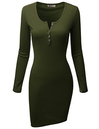 Doublju Womens Silm Fit Longsleeve Casual Rib Cotton Knit Henley Mini Dress Olive 2XL