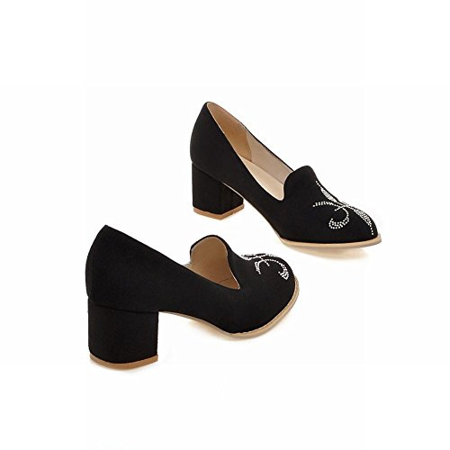 heel dress shoes Black mid fashion loafers rhinestone womens Carolbar chunky elegance qYznv8
