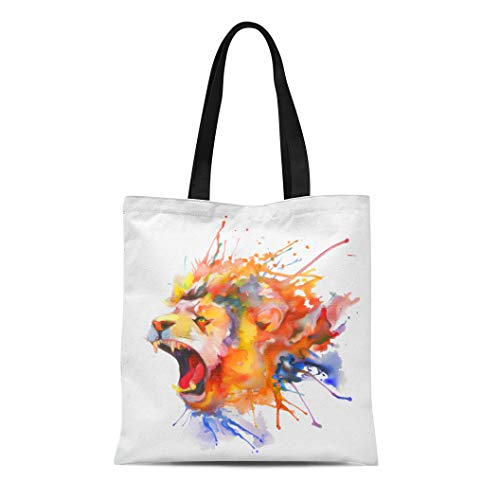 (Semtomn Cotton Canvas Tote Bag Colorful Head Watercolor Painting Roaring Lion Animal Splash Paint Reusable Shoulder Grocery Shopping Bags Handbag Printed)