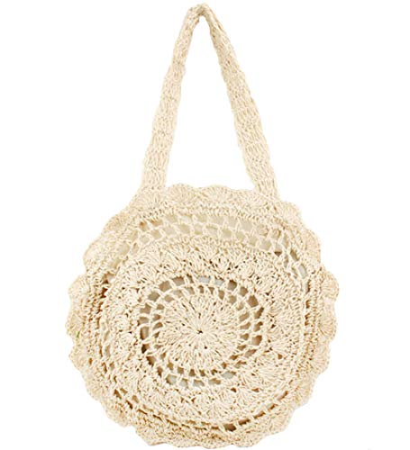 FiveloveTwo Womens Ladies Lightweight Handmade Handbag Large Crochet Shoulder Summer Bag Straw Beach Shopper Clutch Top Handle Tote Bags and Purse Beige ()