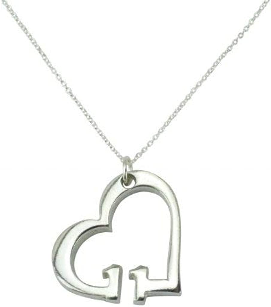 11 Year Wedding Anniversary Necklace - Heart Shaped with 11 Year Cut Out Design