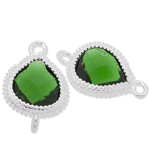 12.5x19mm Deep Green Color Faceted Glass Charms Pendant Silver Plated Frame-5pcs/lot