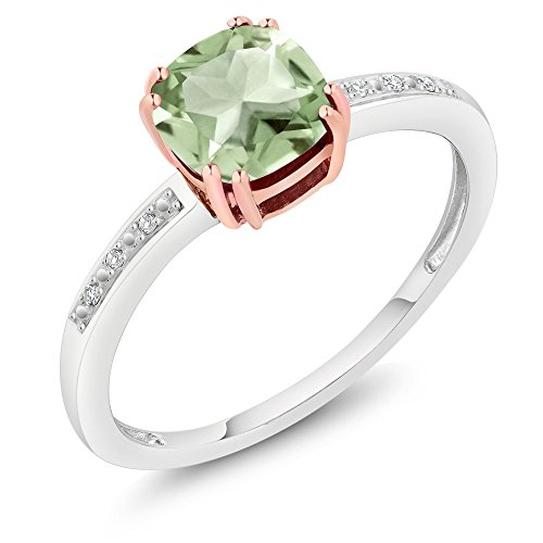 10K Rose and White Gold Diamond Accent Ring Cushion Green Amethyst (1.42 cttw, Available in size 5,6,7,8,9)