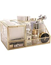 Practical Atmosphere Cosmetic Organiser Glass Makeup Storage Box with Drawers for Dressing Table Bathroom Accessories Cosmetic Display Stand