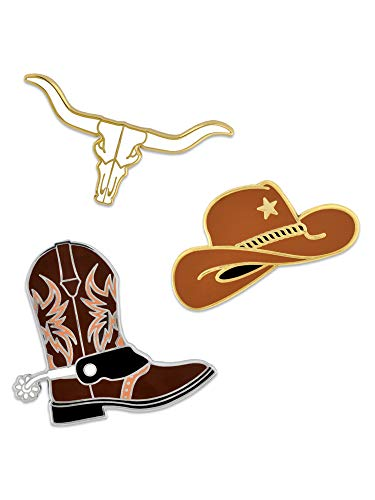 PinMart Cowboy Cowgirl Boot Hat Long Horn Cow Skull Fun Enamel Lapel Pin Set
