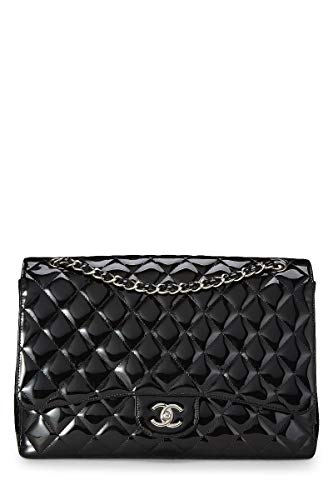 CHANEL Black Quilted Patent Leather Classic Flap Maxi (Pre-Owned)