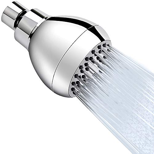 High Pressure Shower Head 3 Inches Anti-clog Anti-leak Fixed Showerhead Chrome with Adjustable Swivel Brass Ball Joint for Relaxing and Comfortable Shower Experience Aisoso