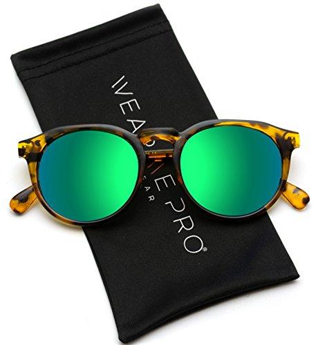 WearMe Pro - Retro Round Flat Top Frame Mirrored Fashion - Brown Lens Max Polarized
