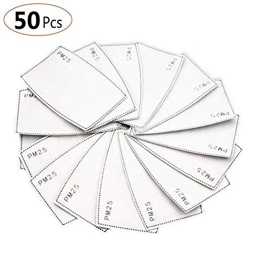 50 PCS filtro de carbon activado protector de 5 capas reemplazable, PM2.5, papel de filtro externo antivaho, antivaho, antibacteriano, a prueba de polvo, filtro de mascara