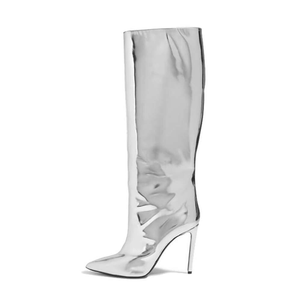 WHL.LL Frauen PU Schlanker High Heel Hohe Stiefel Metall Wind Spitze Nachtclub Silber Stiefel Abendkleid Mode Stiefel (Absatzhöhe  12Cm)