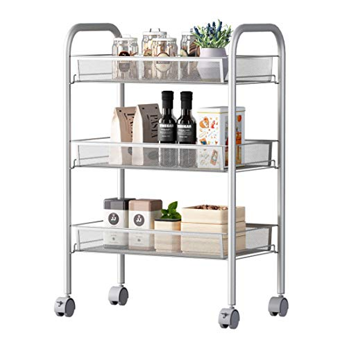 BORTENG 3-Shelf Net Metal Serving Cart Kitchen Wire Shelving Unit Laundry Basket Storage Sorter on Wheels,25.6'' x 10.6'' x 18'' (3-Shelf) (Shelving Basket Storage)