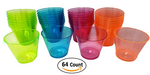 Party Cups/Drink Beverages Tumblers 64-Count, 9-Ounce Disposable Assorted Crystal Neon Colors Hard Plastic