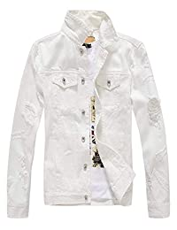 Mens Classic Slim Fit Motorcycle Denim Jean Jacket Coat Ripped White Large