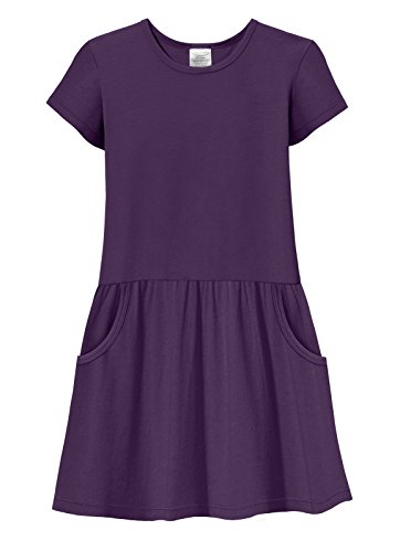 City Threads Girls Jersey Short Sleeve Drop Waist French Pocket Dress Cotton SPD Sensory Sensitive Summer School Party, Purple, 4T