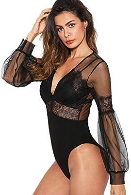 DIDK Womens Sheer Striped Mesh See Through Bodysuit