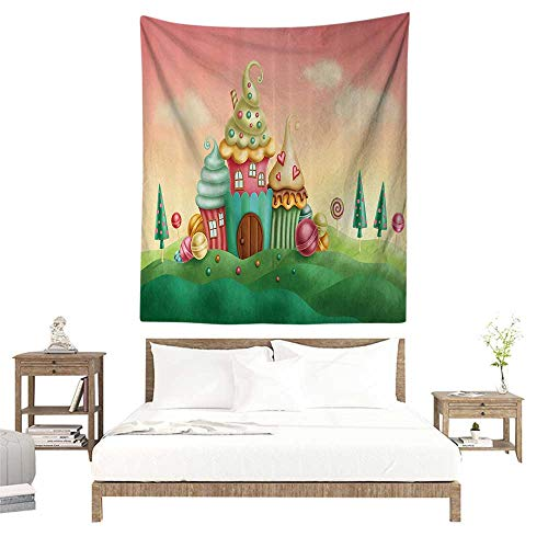 alisoso Tapestries Wall Art,Teen Girls Decor Collection,Fantasy Houses from Cupcakes Candy Sweets in Grassland Children Art Print,Coral Green W63 x L63 inch Wall Tapestries ()