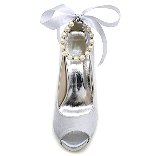 Heel Elobaby da Tacco Raso Scarpe Sposa Toe Alto 7 Centimetri Cristallo Abito Pink di 5 Fibbia da Kitten di Donna Perla xxPTrAn