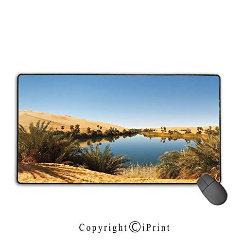Extended Mousepad with Durable Stitched Edges,Desert,Idyllic Oasis Awbari Sand Sea Sahara Libya Pond Lush Arid Country,Light Blue Green Sand Brown,Ideal for Desk Cover, Computer Keyboard, PC and Lapto