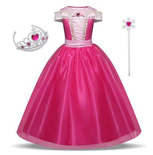 Yuyoky Girls Drop Shoulder Princess Aurora Costume Dress up (110 (3Y))