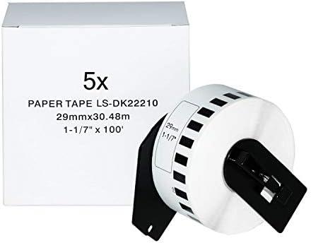 Logic-Seek 5X Endlos-Etikett kompatibel für Brother DK22210 29mm x 30,48m P-Touch QL-1050 1060N 500 550 560 570 580 700 500 A BS BW 560 VP YX 580N 650TD 710W 720NW