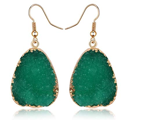 Desert Citizen Druzy Quartz Dangle Earrings for Women in Gold (Green)